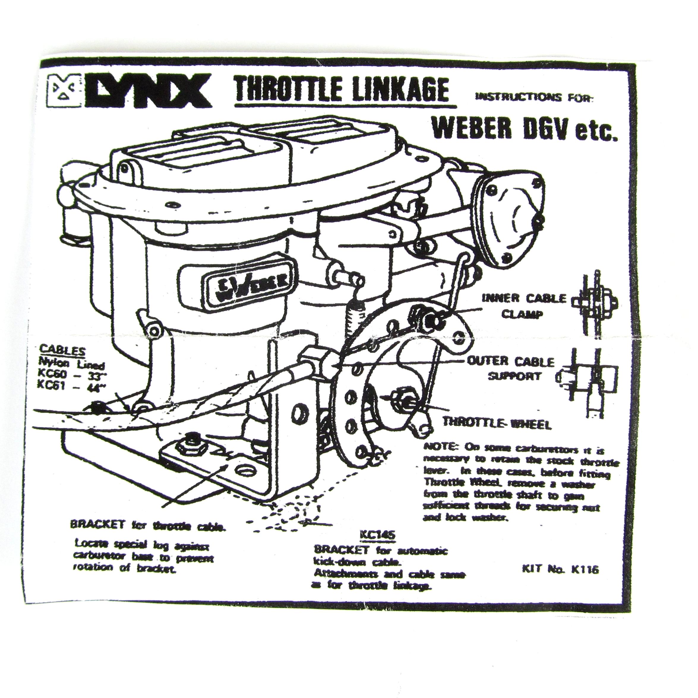 weber dgv,dgav,dgas,dgms,dcd,dgev carburettor throttle cable linkage kit