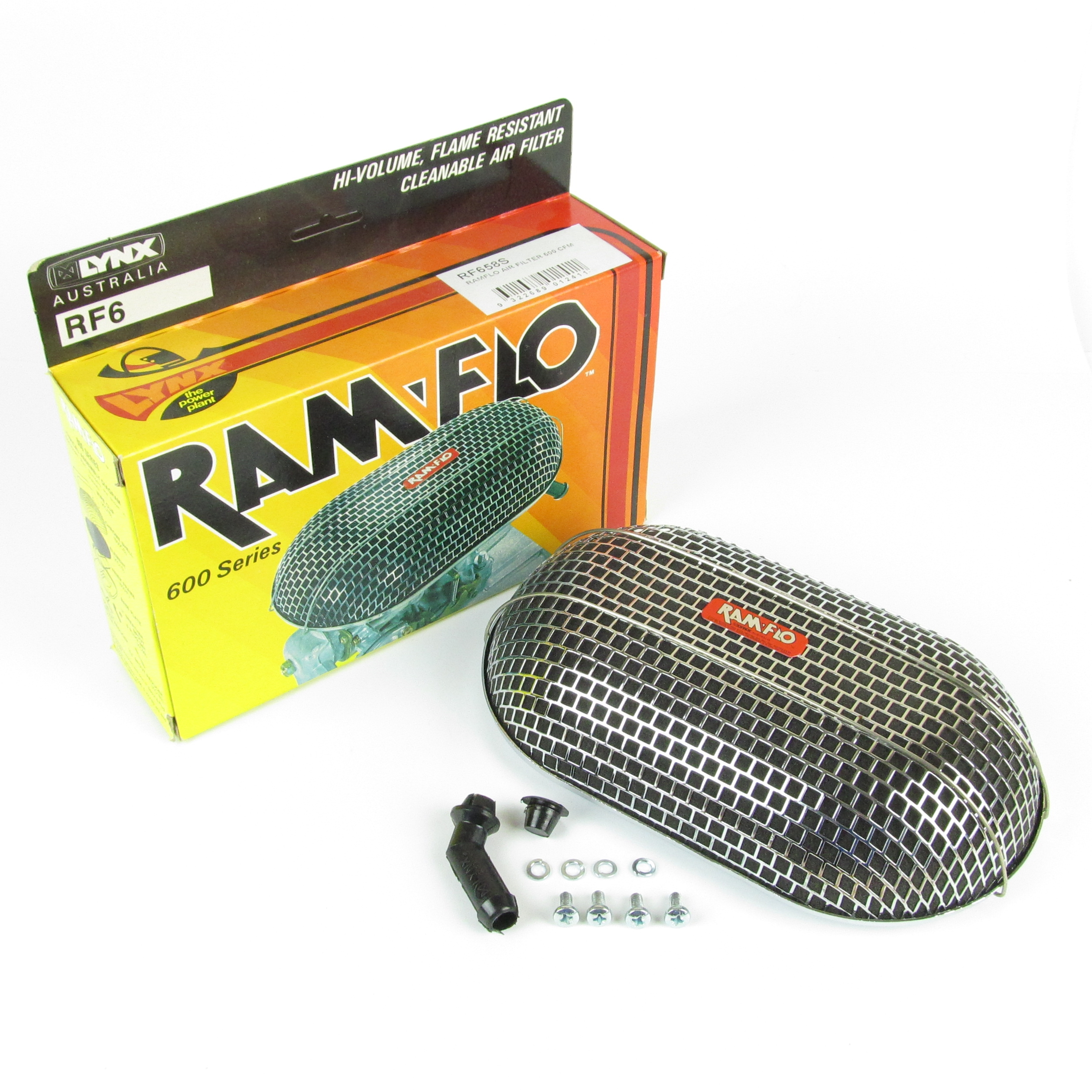 Ramflo filter for Weber DGV, DGAV, DGAS, DGMS carburettors, made by Lynx in Australia. Hi-volume,flame resistant and washable. 600 cubic feet per minute rating. Only 52mm deep, good for installations where space is limited. Approximately 232 mm long x 140mm wide. Includes:- Air filter gasket, Breather pipe adaptor and blanking plug. Note: DGAS Carburettor is shown for illustration purposes, and is not included with filter