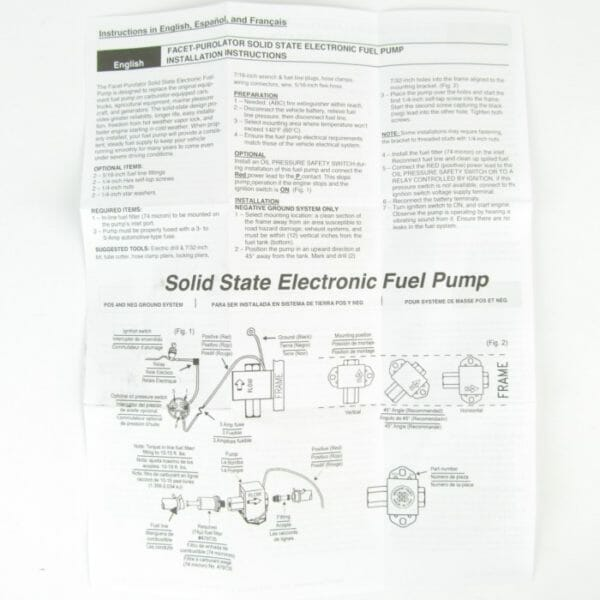 FACET цвёрдае ELECTRONIC 12V FUEL PUMP KIT (150BHP)