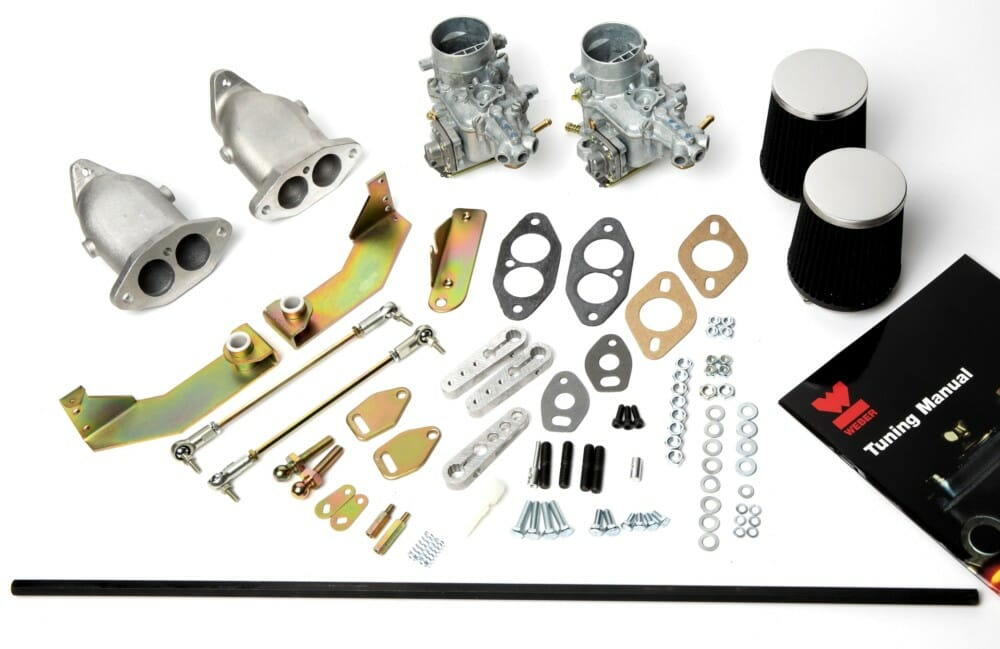 DUAL WEBER 34 ICT CARBURETTOR CONVERSION KIT FOR AIR-COOLED VW T1 & T2 TWIN  PORT ENGINES