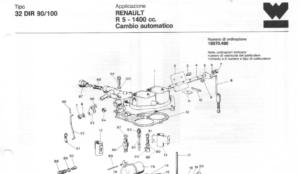 WEBER 32 Дыяграма карбюратара DIR 90/100 - Renault R5 1400