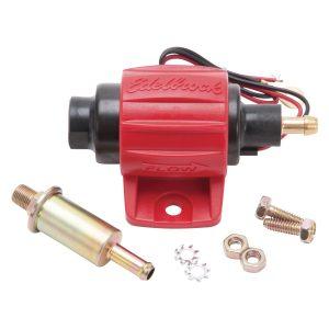 17303 12V elektrické nízkotlaké palivové čerpadlo Edelbrock / Weber 12V pro karburátory 2.0 - 3.5 PSI (montáž palivových přípojek 5/16 nebo 8 mm)