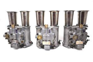 סט איטלקי מקורי של WEBER 45 DCO3 קרבורטור חול (סט של 3) עבור מנועי יגואר / אסטון מרטין / מזראטי / פרארי