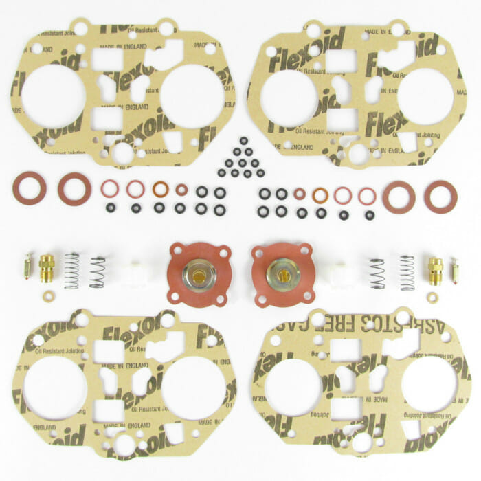 PAIR DELLORTO DRLA 45 TWIN CARBURETTORS / CARBS SERVICE / OVERHAUL GASKET KIT