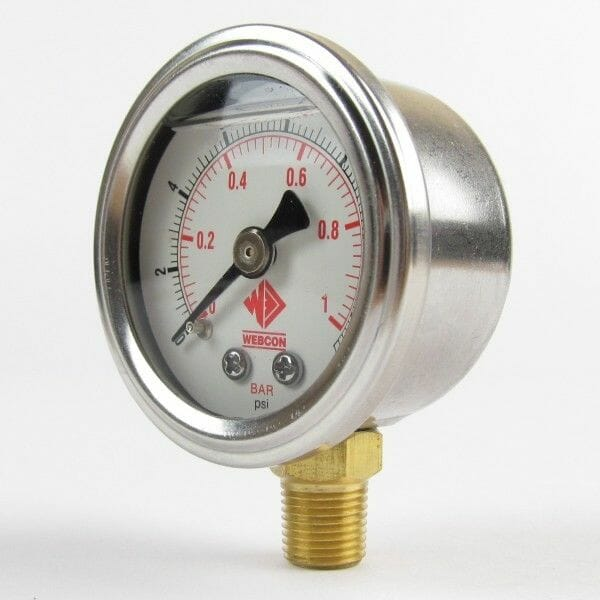 WEBER/DELLORTO TWIN CARBS - 0-15PSI FUEL PRESSURE GAUGE 1/8 NPTF - FLUID FILLED